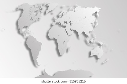 World Map with paper cut effect. Map consists of separate objects - countries. Each country can be processed separately - eg, resize and recolor or used in another project as an independent object.