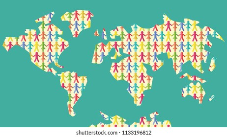 World Map with Paper Man Cut out
