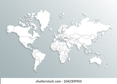 World map paper. Political map of the world on a gray background. Countries.