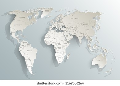 World map paper. Political map of the world on a gray background. Countries. Vector illustration.