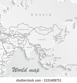 World map paper. Political map of the world on a white background. Countries. Vector illustration.