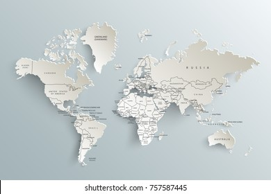 World map paper. Political map of the world on a gray background.