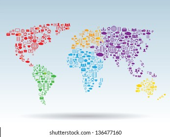 World map pattern with social media and technology icons
