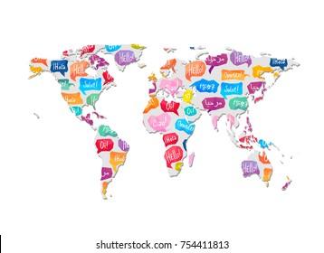 World map with pattern of speaking bubbles with word Hello in different languages