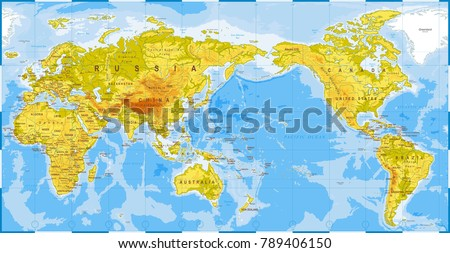 World Map Physical Asia Center China Stock Vector Royalty Free