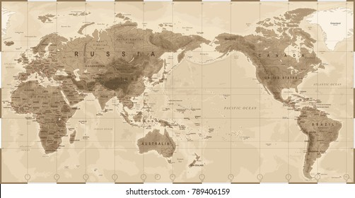 World Map Physical Vintage - Asia in Center - China, Korea, Japan - vector