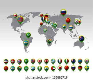 Balls country flag images stock photos vectors shutterstock world map and pins with flags vector freerunsca Image collections