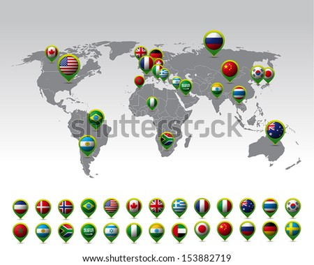 world map pins flags vector stock vector royalty free 153882719