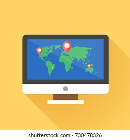 World map with pins. Vector illustration.