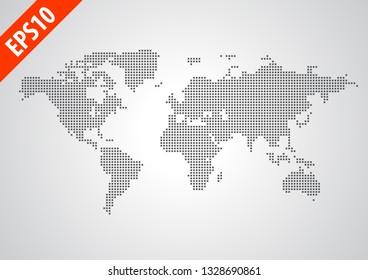 world map pixel square graphic illustration vector for artworks.