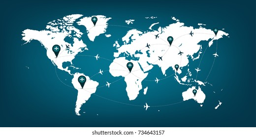 world map plane logistic in blue print network World map a plane transportation White and blue
