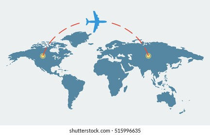 World map with plane. Travel and tourism concept. Airplane route. Vector illustration.