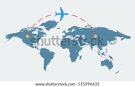 World map plane travel tourism concept stock vector royalty free world map with plane travel and tourism concept airplane route vector illustration gumiabroncs Choice Image