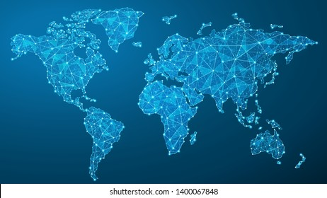 World Map Plexus - Global Technology and Business Connection