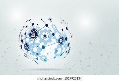 World map point and line composition concept of Industry 4.0 concept Internet of things network, cybernetic abstraction with innovative industrial schemes.-Vector Illustration