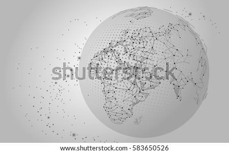 World Map Point Line Composition Global Stock-Vektorgrafik ...