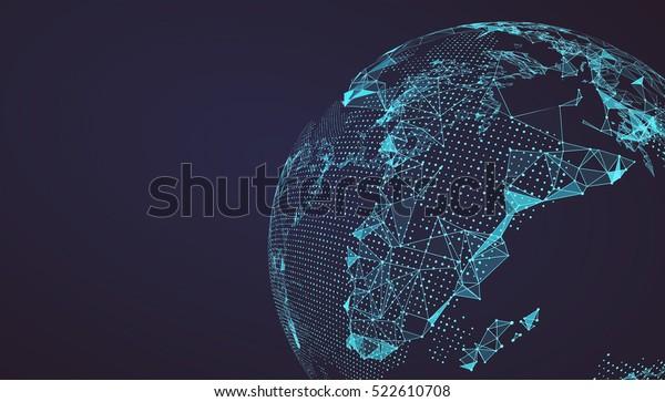 Карта мира точка, линия, композиция, представляющая глобальный, глобальное сетевое соединение, международное значение.