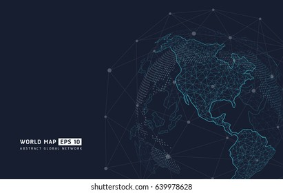 World map point, line, representing the global, Global network connection,international meaning.abstract vector planet,meaning globalization.