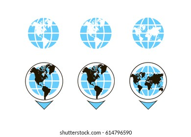 World map with pointer icon signs. Icon globe vector. Icon flat route. Abstract sign flat design illustration isolated modern icon for the site.