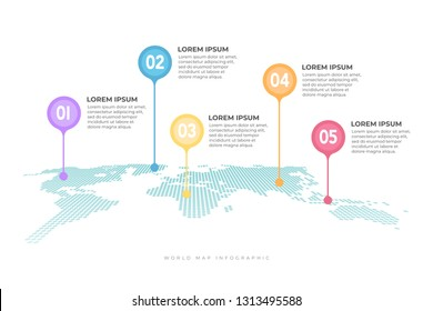 World map with pointer marks infographic.