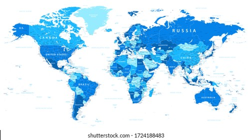 World Map Political - Blue and White Color - Vector Detailed Illustration
