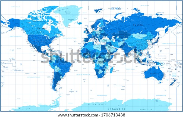 World Map - Political - Blue and White Color - Vector Detailed Illustration