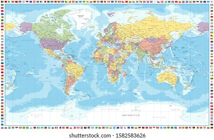 World Map Political and Flags - Vector Detailed Illustration