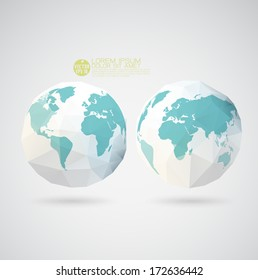 World map with polygon textured isolated on background, vector illustration