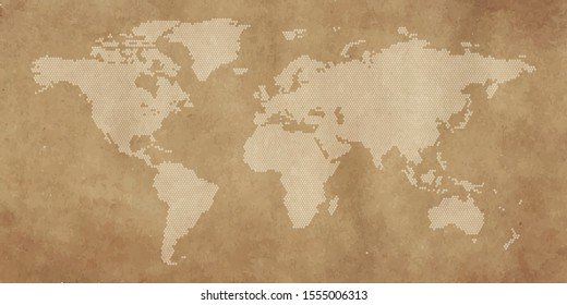 world map polygon in vintage style