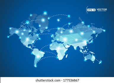 World Map polygonal with spot lights effect