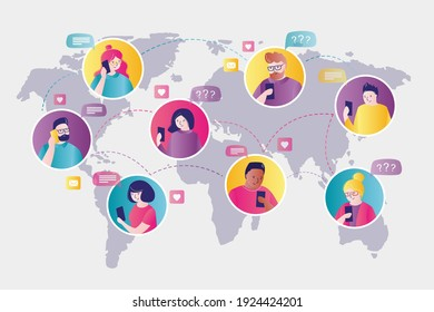 World map with portraits of humans. Multicultural people exchange information via internet. Men and women communicate through worldwide network. Global connect and social network. Vector illustration