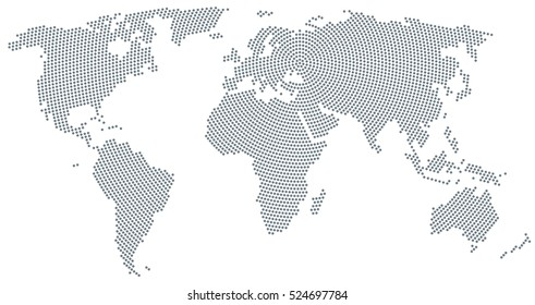 World map radial dot pattern. Gray dots going from the center outwards and form the silhouette of the surface of the Earth under the Robinson projection. Illustration on white background. Vector.