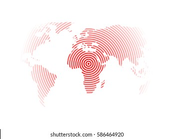 World map of red concentric rings on white background. Earthquake epicentre theme. Modern design vector wallpaper.