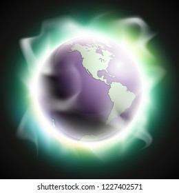 World map rising sun. Solar eclipse globe icon, space sunlight. Planet Earth sunny glow background view from space. Continents world Sunshine picture. Colorful solar eclipse astro poster presentation