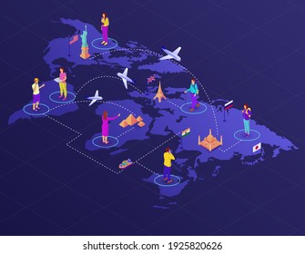 World map with routes and tourists isometric illustration. Travel to global adventure landmarks plane and hiking vector tourism.