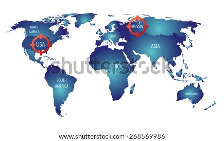 World Map Russia Usa Targets Cold Stock Vector Royalty Free