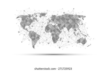 world map science concept abstract on white background