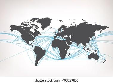 World Map sea transport Vector illustration