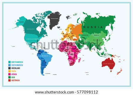 world map section parts continent country のベクター画像素材