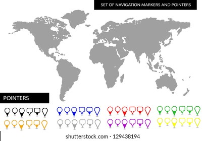 World map with set of blank colorful pointers and markers vector