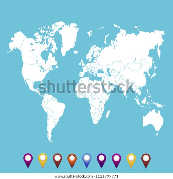 World map. set of color pointers