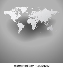 World map with shadow on gray background. Vector saved as eps-10, file contains objects with transparency.