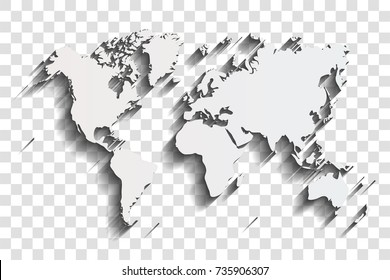 World map with shadow on a transparent background