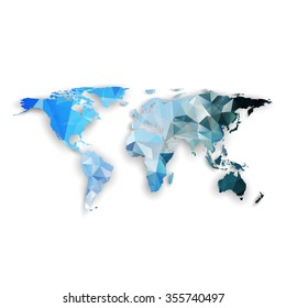 World map with shadow, textured design vector illustration.