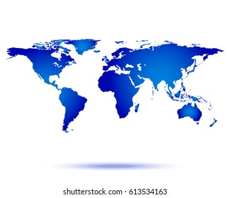 World map with shadow vector illustration