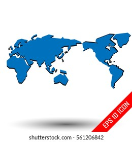 World Map with shadows. Word map american style. Simple picture of word map on white background. Vector illustration.