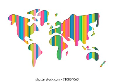 World map shape illustration in modern 3d paper cut art style. Colorful realistic papercraft cutout design. EPS10 vector.