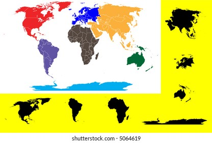 World Map showing the 7 continents