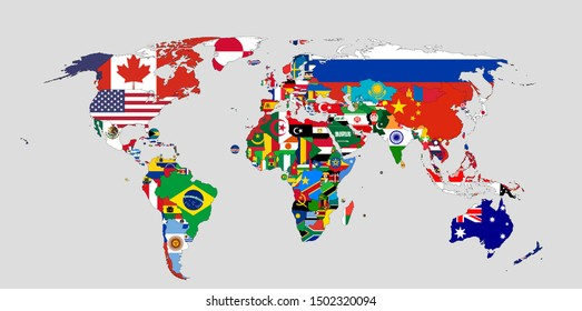 World map showing flags of each country, vector.