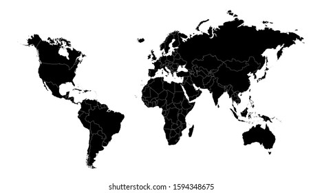 World Map silhouette continent country  illustration, vector isolated on white background, glyph style